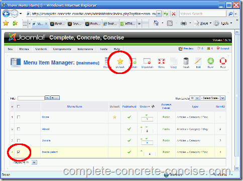 joomla-backend-set-default-menu