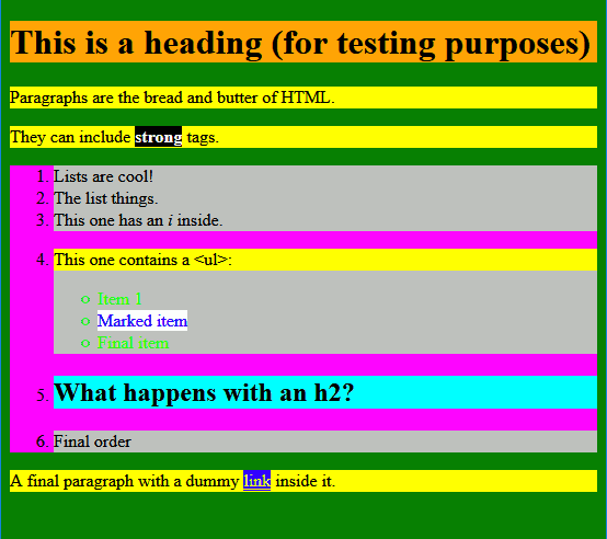 Colourful HTML page