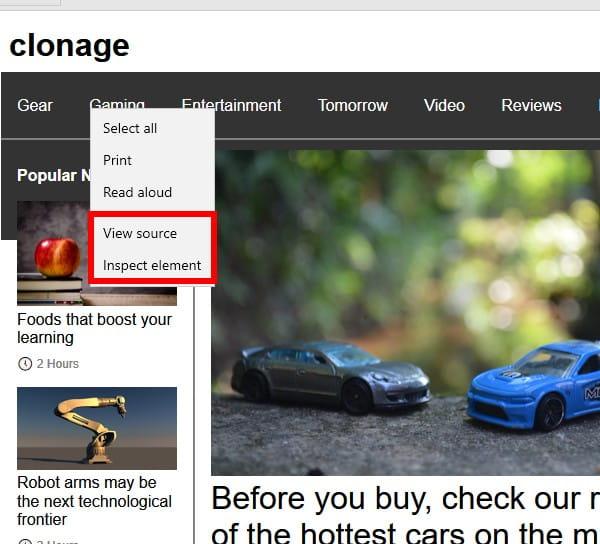 Edge right-click menu
