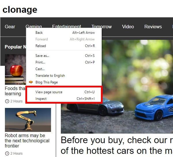 Chrome right-click menu
